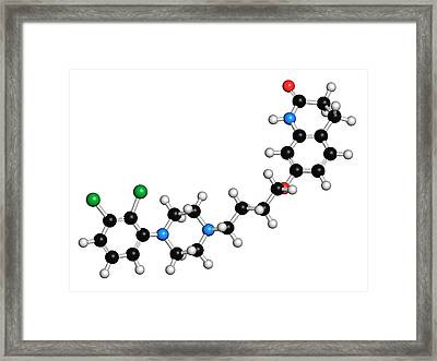 Aripiprazole Antipsychotic Drug Molecule Framed Print by Molekuul