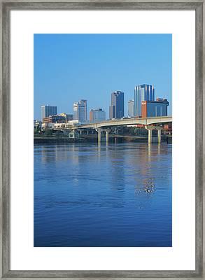 Arkansas River And Skyline In Little Framed Print