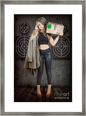 Army Pinup Girl At Rifle Range. Bullet Proof Framed Print by Jorgo Photography - Wall Art Gallery