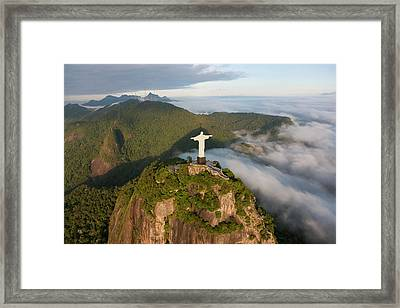 Art Deco Statue Of Jesus, Known Framed Print by Peter Adams