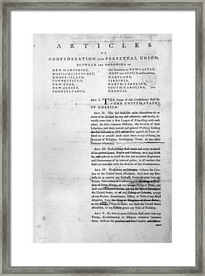 Articles Of Confederation Framed Print
