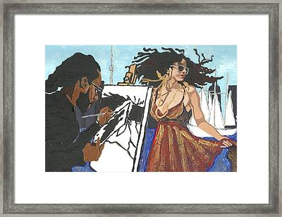 Framed Print featuring the painting Artist At Work by Rachel Natalie Rawlins