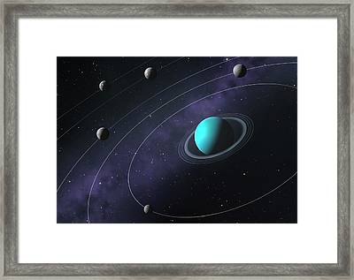 Artwork Comparing The Moons Of Uranus Framed Print by Mark Garlick