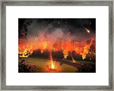 Artwork Of A City Hit By Meteorites Framed Print by Mark Garlick
