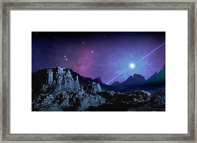Artwork Of A Planet Orbiting A Pulsar Framed Print