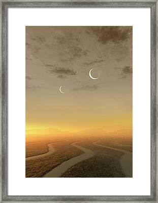 Artwork Of Exoplanet Kepler 452b Framed Print