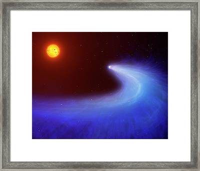 Artwork Of Mass-losing Planet Gj 436b Framed Print by Mark Garlick