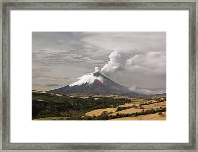 Ash Plume Rising From Cotopaxi Volcano Framed Print by Dr Morley Read