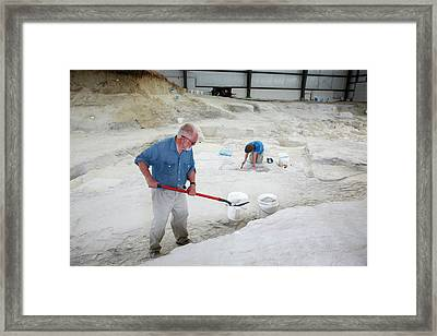 Ashfall Fossil Beds Excavation Framed Print by Jim West