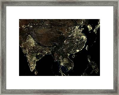 Asia At Night Framed Print by Planetobserver