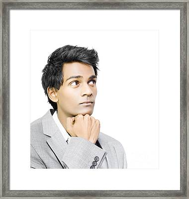 Asian Businessman In Deep Contemplation Framed Print