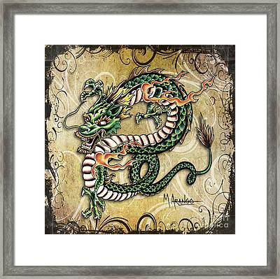 Asian Dragon Framed Print by Maria Arango