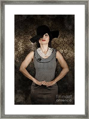 Asian Model Wearing Vintage Fashion Framed Print by Jorgo Photography - Wall Art Gallery