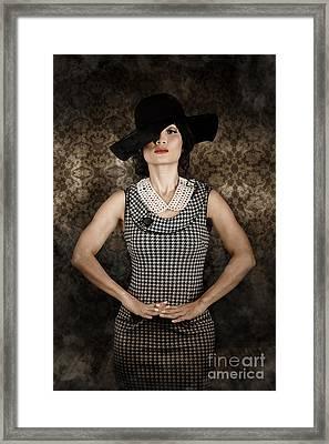 Asian Model Wearing Vintage Fashion Framed Print