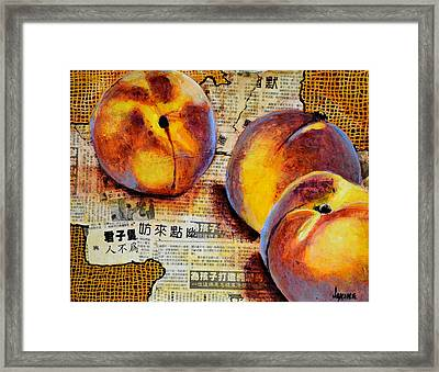Asian Peaches Framed Print by JAXINE Cummins