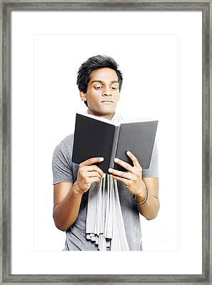 Asian Student Studying From Textbook Framed Print by Jorgo Photography - Wall Art Gallery