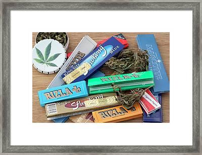 Assorted Cannabis Products Framed Print by Adam Hart-davis