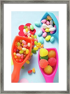 Assorted Coloured Sweets In Plastic Scoops Framed Print