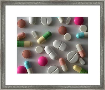 Assorted Pills Framed Print by Robert Brook
