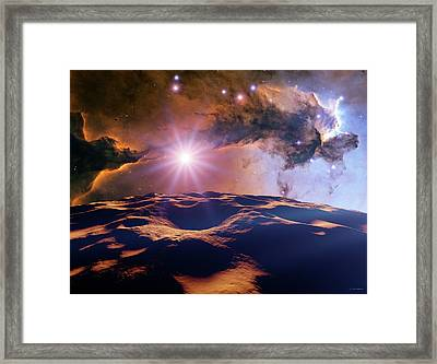Asteroid And Eagle Nebula Framed Print by Nasa, Esa, And The Hubble Heritage Team Stsci/aura)//detlev Van Ravenswaay