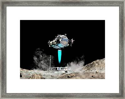 Asteroid Lander Departs Surface Framed Print by Walter Myers
