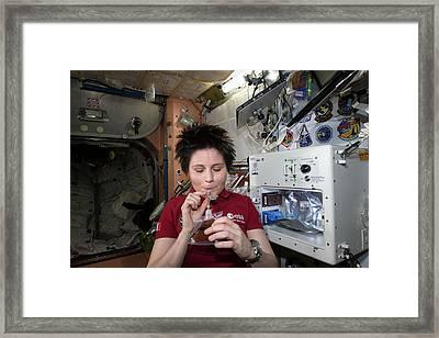 Astronaut Samantha Cristoforetti On Iss Framed Print by Nasa