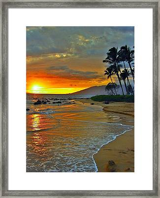 At The Beach Life Passes Differently Framed Print