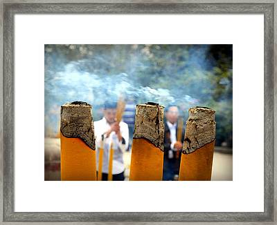 At The Buddhist Temple Framed Print