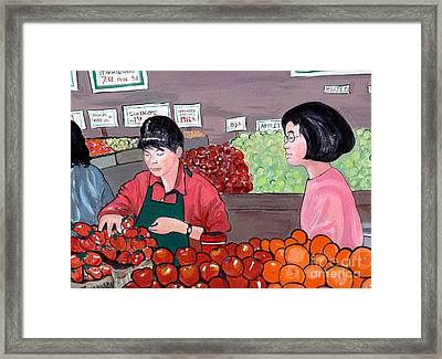 Framed Print featuring the painting At The Market by Joyce Gebauer