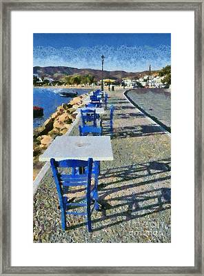 At The Port Of Ios Island Framed Print
