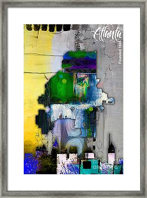 Atlanta Map And Skyline Watercolor Framed Print by Marvin Blaine