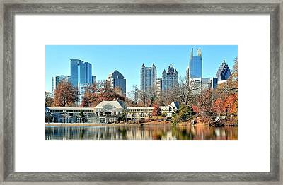 Atlanta Panoramic From Piedmont Park Framed Print by Frozen in Time Fine Art Photography