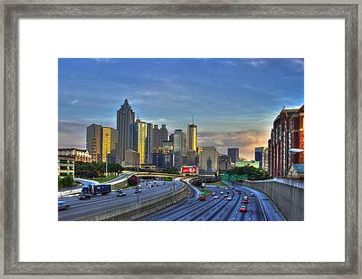 Atlanta Sunset Reflections Framed Print by Reid Callaway