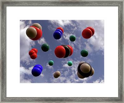 Atmospheric Gas Molecules Framed Print by Indigo Molecular Images