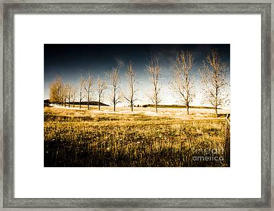 Atmospheric Vibrant And Dark Farming Landscape Framed Print by Jorgo Photography - Wall Art Gallery