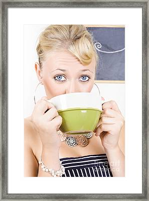 Attractive Blonde Woman Drinking Green Tea Framed Print