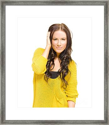 Attractive Brunette Woman With Fresh New Haircut Framed Print
