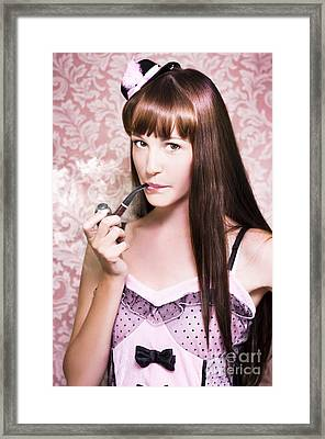 Attractive Film Actress Smoking Pipe Framed Print by Jorgo Photography - Wall Art Gallery