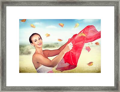 Attractive Girl On Outdoor Autumn Picnic Break Framed Print by Jorgo Photography - Wall Art Gallery