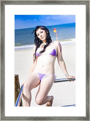 Attractive Girl On The Beach Framed Print