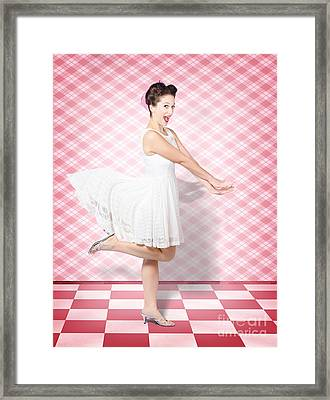 Attractive Pinup Woman Running In Surprise Framed Print by Jorgo Photography - Wall Art Gallery