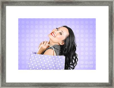 Attractive Young Asian Girl Shopping In Style Framed Print