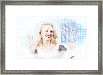 Attractive Young Blond Pin-up Woman Washing Window Framed Print