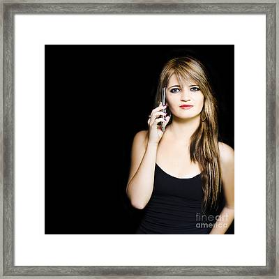 Attractive Young Business Woman Using Mobile Phone Framed Print