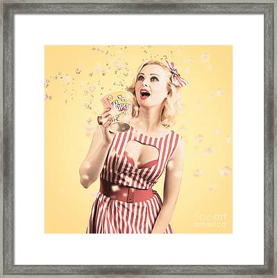 Attractive Young Cinema Woman Watching Big Screen Framed Print by Jorgo Photography - Wall Art Gallery