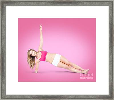Attractive Young Fit Woman Training At Gym Framed Print by Jorgo Photography - Wall Art Gallery