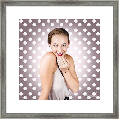 Attractive Young Retro Girl With Look Of Surprise Framed Print by Jorgo Photography - Wall Art Gallery