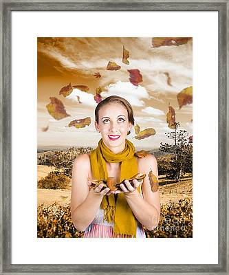 Attractive Young Woman Enjoying The Great Outdoors Framed Print by Jorgo Photography - Wall Art Gallery