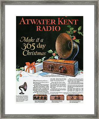 Atwater Kent Radio Ad, 1926 Framed Print by Granger