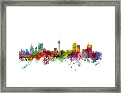 Auckland New Zealand Skyline Framed Print by Michael Tompsett